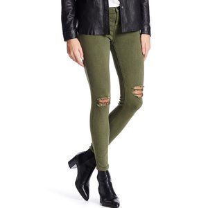 Current/Elliot Army Green Distressed Skinny Jeans